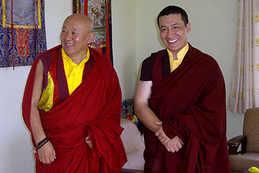 The 17th Karmapa meets his Holiness Drikung Kyabgon Chetsang Rinpoche.